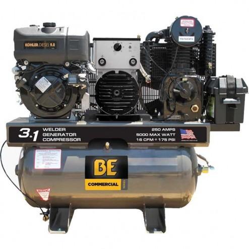 BE Pressure 30 Gal Diesel Compressor/Gen/Welder Combo AC1030K5000W