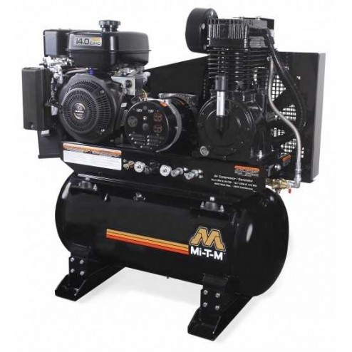 Mi-T-M 30-gallon Two stage Subaru Gas Air Compressor/ Generator Combo AG2-SR14-30M