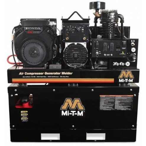 Mi-T-M 20 Gallon Two stage Honda Gas Air Compressor /Generator/ Welder Combo AGW-SH22-20M